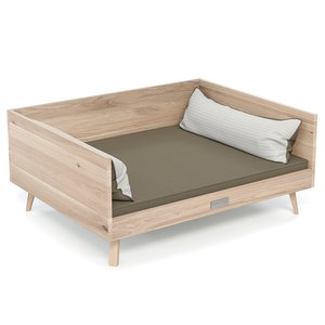 Dog bed LOUNGE oak - cover taupe